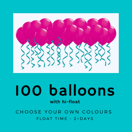 We Like To Party 100 ceiling balloons with hifloat and ribbon