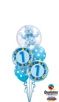 We Like To Party 1st Birthday Boy Bear Double Bubble Balloon Bouquet