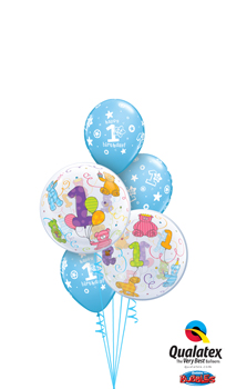 We Like To Party 1st Birthday Bubble Teddy Bears Balloon Bouquet