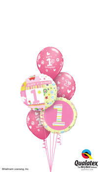 We Like To Party 1st Birthday Girl And Hearts Balloon Bouquet