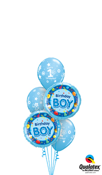 We Like To Party 1st Birthday Boy Blue Balloon Bouquet