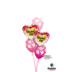 We Like To Party Wild Berry, Rose & Pink 5 Balloon Bouquet