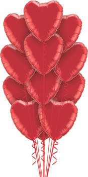 We Like To Party A Dozen Red Hearts Balloon Bouquet