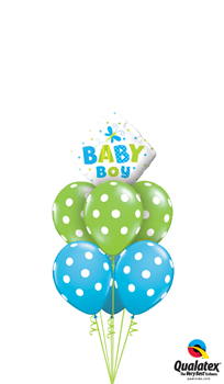We Like To Party Baby Boy Dots And Dragonflies Balloon Bouquet