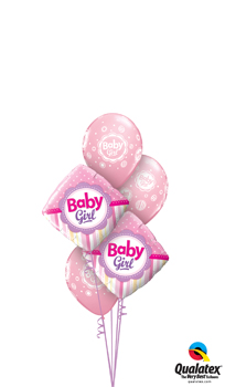 We Like To Party Baby Girl Dots Stripes Balloon Bouquet