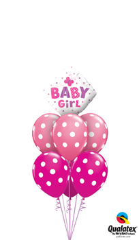 We Like To Party Baby Girl Dots And Butterflies Balloon Bouquet