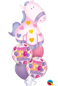We Like To Party Balloon Hearts 1st Birthday Girl Balloon Bouquet