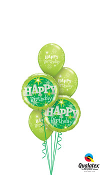 We Like To Party Green Sparkle Birthday Balloon Bouquet