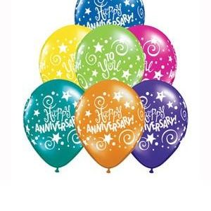 We Like To Party Colourful Anniversary Wishes Balloon Bouquet