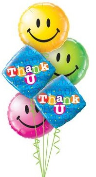 We Like To Party Colourful Thank You Smiles Balloon Bouquet
