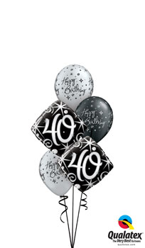 We Like To Party 40th Elegant Sparkles Milestone Birthday Balloon Bouquet