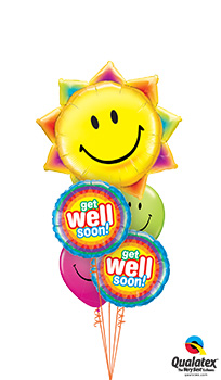 We Like To Party Get Well Radiant Sun Balloon Bouquet