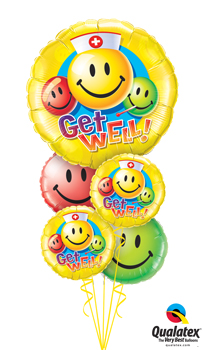 We Like To Party Get Well Smiley Faces Balloon Bouquet