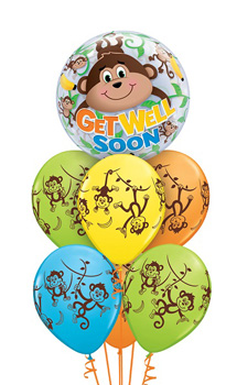 We Like To Party Get Well Soon Monkey Bubble Balloon Bouquet