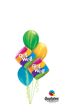 We Like To Party Get Well Stripes Balloon Bouquet