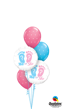 We Like To Party He Or She Footprints Balloon Bouquet