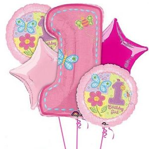 We Like To Party Hugs & Stitches 1st Birthday Girl Balloon Bouquet