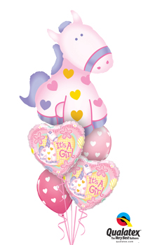 We Like To Party Its A Girl Soft Pony Balloon Bouquet