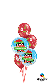 We Like To Party Merry Xmas Snowy Penquin Balloon Bouquet