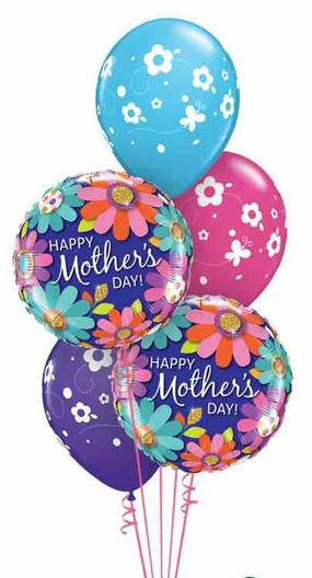 We Like To Party Mothers Day Floral Balloon Bouquet