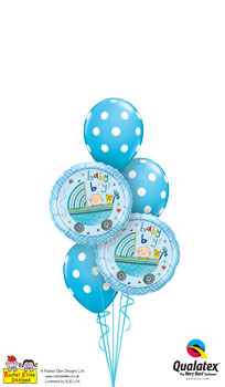 We Like To Party Rachel Ellen Baby Boy Stroller Balloon Bouquet