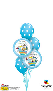 We Like To Party Rachel Ellen On Your Christening Blue Balloon Bouquet