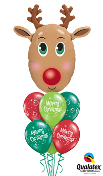 We Like To Party Rudolph The Red Nose Reindeer Balloon Bouquet