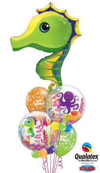 We Like To Party Sea Creatures Birthday Balloon Bouquet