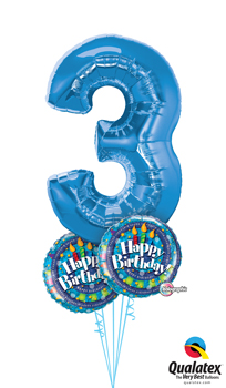 We Like To Party Numeral Three Birthday Balloon Bouquet