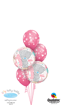 We Like To Party Tiny Tatty Teddy 1st Birthday Girl Balloon Bouquet