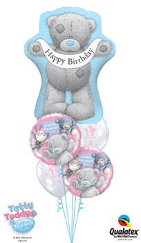 We Like To Party Tiny Tatty Teddy Birthday 1st Girl Balloon Bouquet