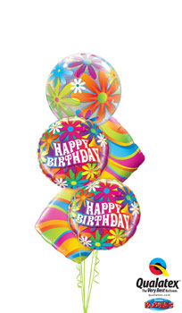 We Like To Party Wavy Stripes Birthday Balloon Bouquet