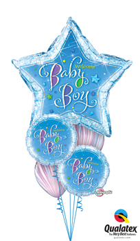 We Like To Party Welcome Baby BoyStar Balloon Bouquet