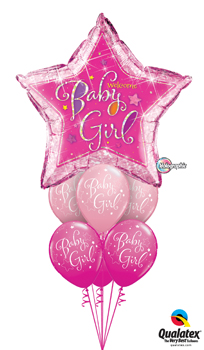 We Like To Party Welcome Baby Girl Star Balloon Bouquet