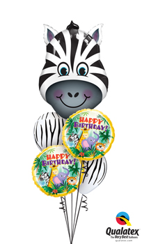 We Like To Party Zany Zebra Birthday Balloon Bouquet