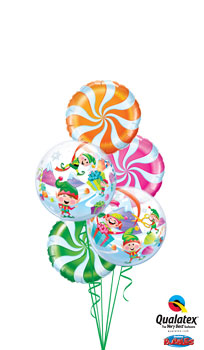 We Like To Party Candy Swirls Merry Elves Balloon Bouquet