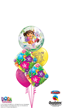 We Like To Party Dora Bubble Explosion Balloon Bouquet