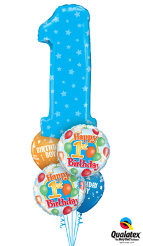 We Like To Party Number 1 Blue Stars Balloon Bouquet