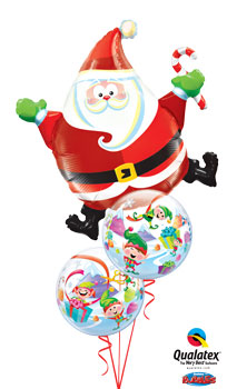 We Like To Party Santa And His Merry Elves Bubble Balloon Bouquet