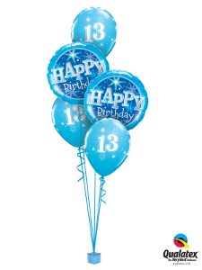 We Like To Party Thirteen Birthday Blue Sparkle Balloon Bouquet
