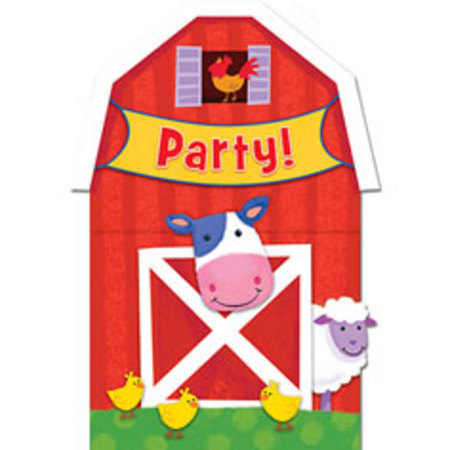 We Like To Party Barnyard Fun Party Invitations and Envelopes, Pack of 8
