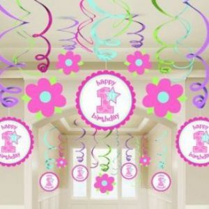 We Like To Party First Birthday Girl Swirl Decorations