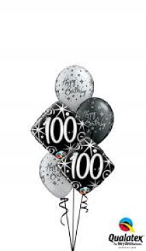 We Like To Party Elegant Sparkles 100th Birthday Balloon Bouquet