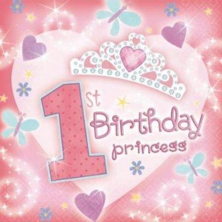 First Birthday Princess Napkins 36pk