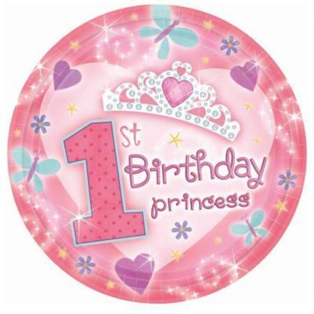 First Birthday Princess Dinner Plates 18pk