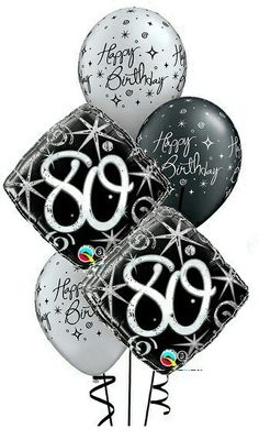 We Like To Party Elegant Sparkles 80th Birthday Balloon Bouquet