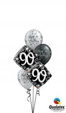We Like To Party Elegant Sparkles 90th Birthday Balloon Bouquet
