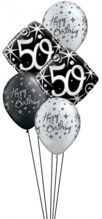 We Like To Party Elegant Sparkles 50th Birthday Balloon Bouquet
