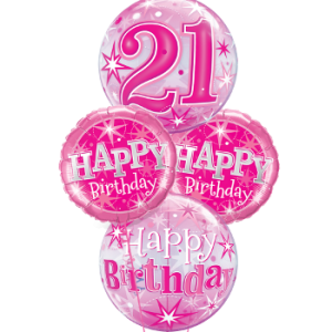 We Like To Party Pink Sparkle 21st Birthday Balloon Bouquet