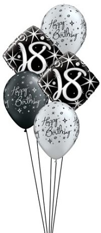 We Like To Party Elegant Sparkles 18th Birthday Balloon Bouquet